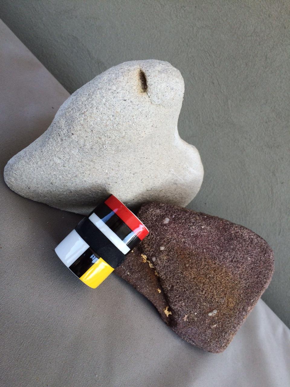 Two rocks and a Mondrain-like pattern